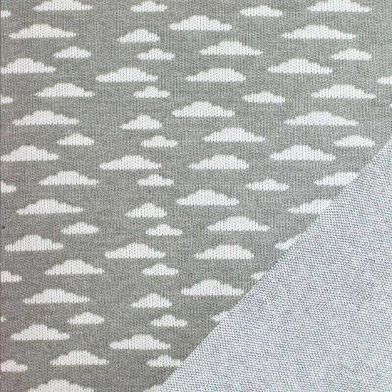 Big Knit Jacquard Fabric - Clouds Grey