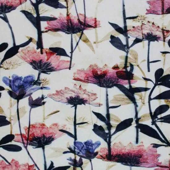 Digital Print Viscose Jersey - Faded Flowers Printed Jersey Fabric