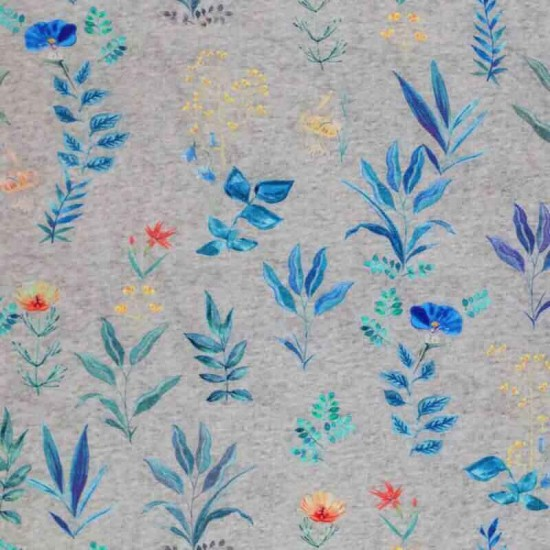 Jersey Cotton Fabric Digital Print - Field Flowers Grey Melange