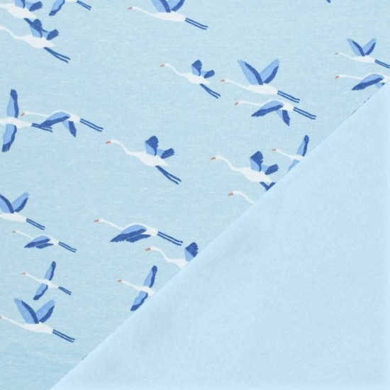 Sweatshirt Fleece Fabric - Crane Bird Blue