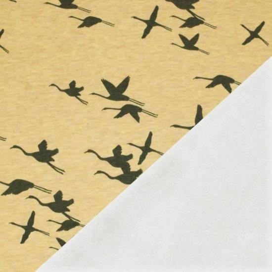 Sweatshirt Fleece Fabric - Crane Bird Mustard Melange