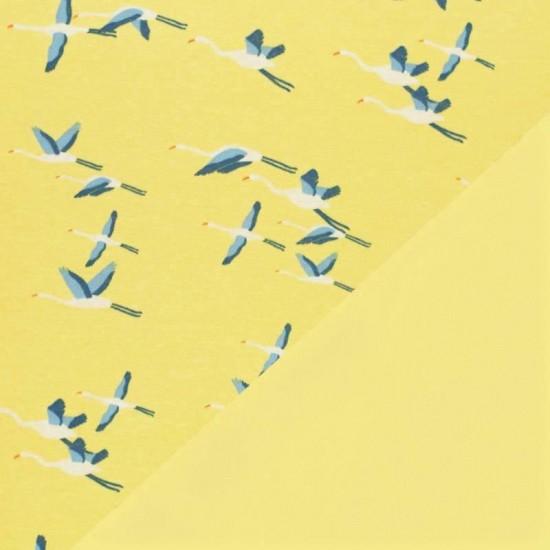 Sweatshirt Fleece Fabric - Crane Bird Yellow