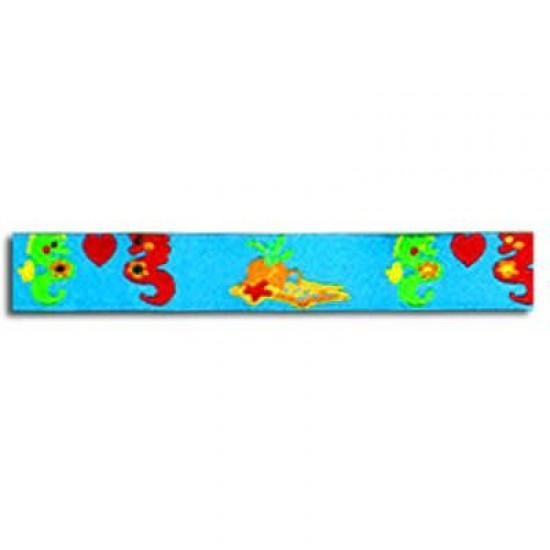 Kinderbänder - Seepferdchen Aqua 15mm