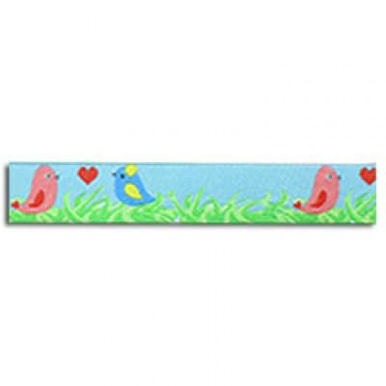 Childrens Ribbon - Grass With Birds Blue 15mm
