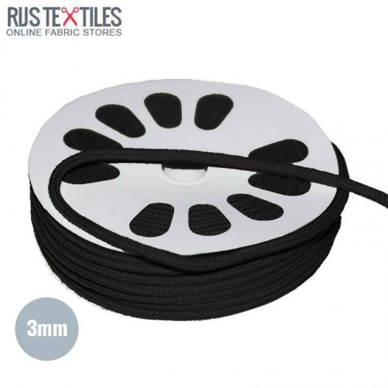 Cotton Cord Black 3mm (Per Meter)