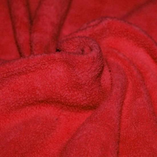 Cotton Fleece Fabric (Sherpa) Red