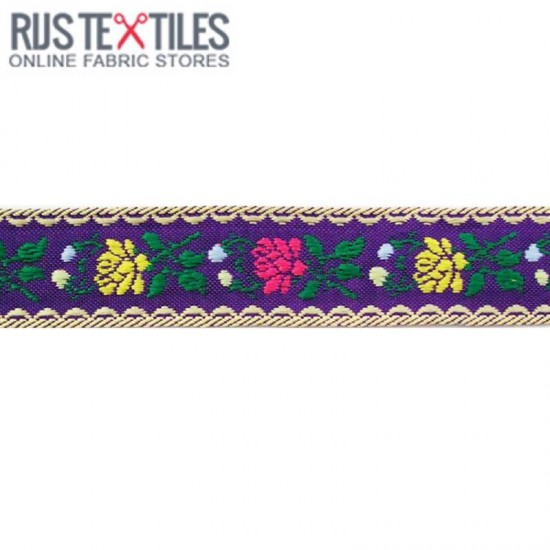 Childrens Ribbon -  Bavarian Flowers Purple 22mm