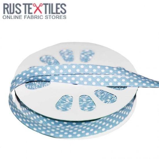 Polka Dot Bias Binding Baby Blue 20mm