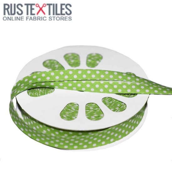 Polka Dot Bias Binding Lime 20mm