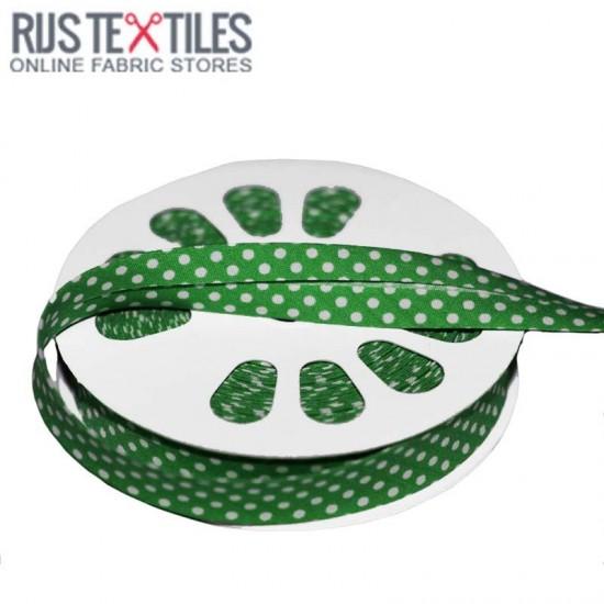 Polka Dot Bias Binding Green 20mm
