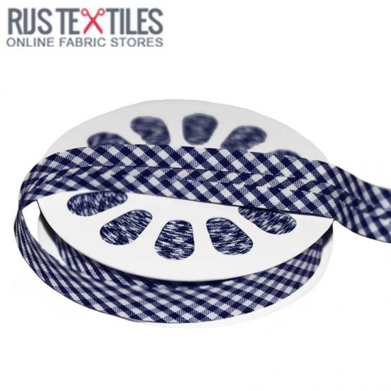 Gingham Bias Binding Navy 20mm