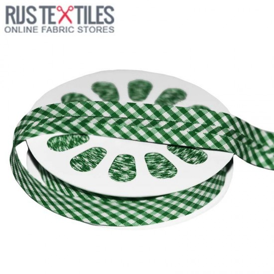 Gingham Bias Binding Green 20mm