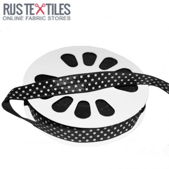 Elastic Edging Ribbon Polka Dots Black 17mm