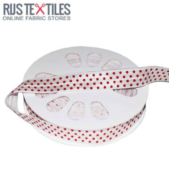 Elastic Edging Ribbon Polka Dots White / Red 17mm