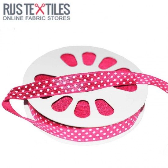 Elastic Edging Ribbon Polka Dots Fuchsia 17mm