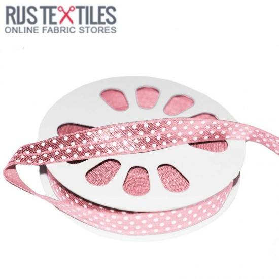 Ruban De Bordage Élastique Pois Rose 17mm