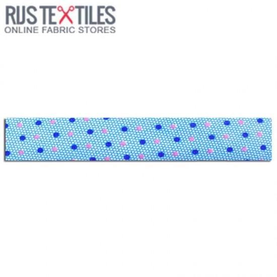 Bias Binding 3m Cotton Multi Dots Blue 20mm