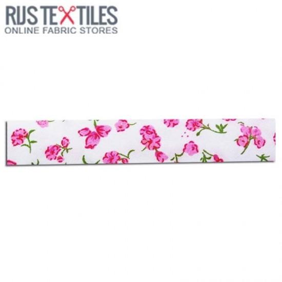 Bias Binding 3m Cotton Flower Pink 20mm