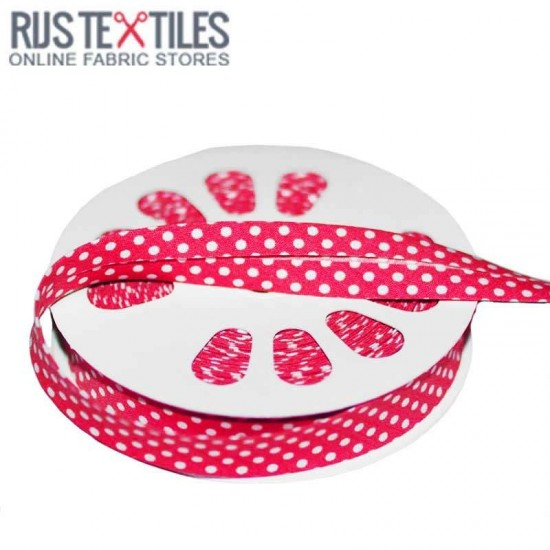 Polka Dot Bias Binding Fuchsia 20mm