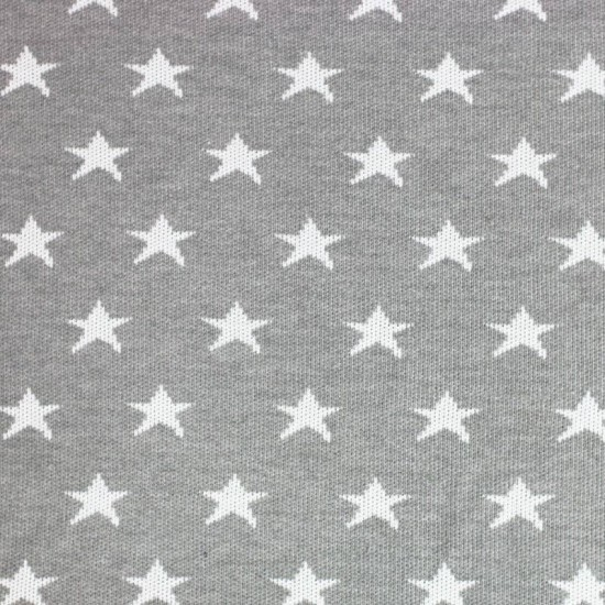 Big Knit Jacquard Fabric - Stars Grey