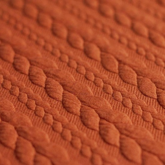 Cable Knit Jacquard Fabric Orange