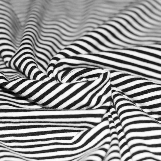 Jersey Cotton Stripes 3mm Black White