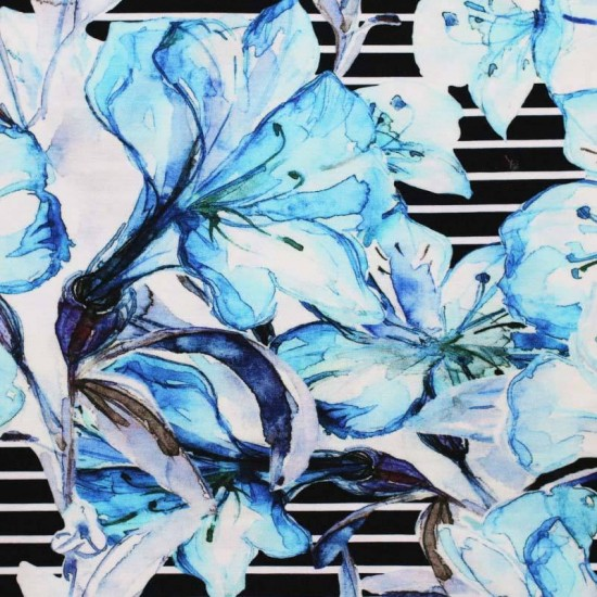 Digital Print Viscose Jersey - Big Flower On Stripe Blue