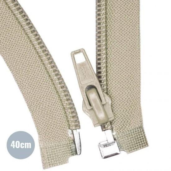 Divisible Zipper YKK Beige 40CM Nylon