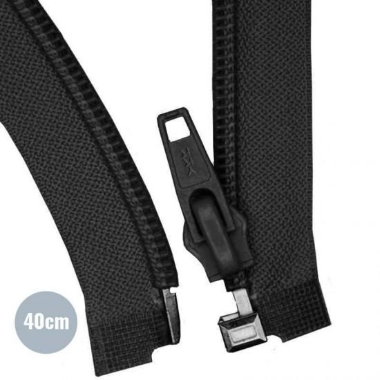 Divisible Zipper YKK Black 40CM Nylon