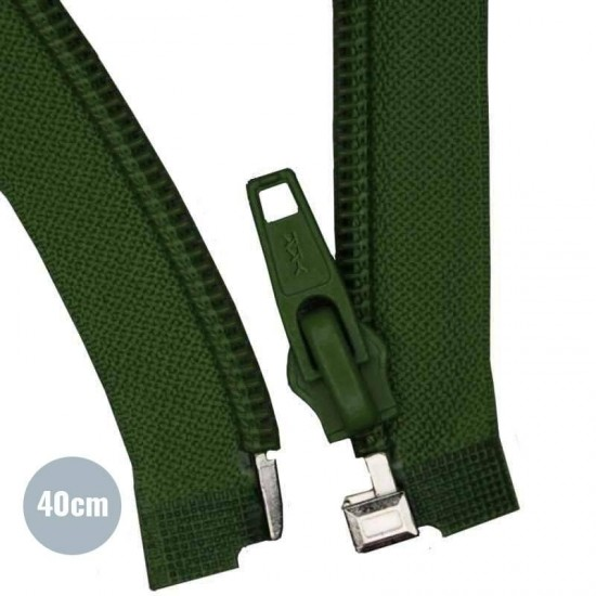 Divisible Zipper YKK Dark Green 40CM Nylon