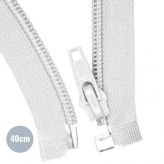Divisible Zipper YKK White 40CM Nylon