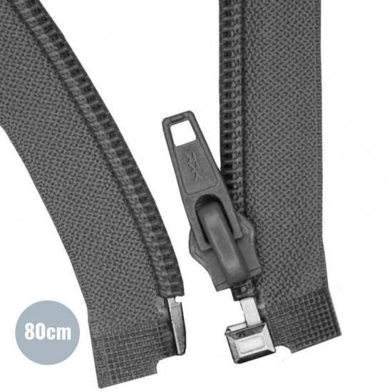 Divisible Zipper YKK Dark Grey 80CM Nylon