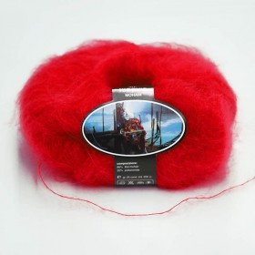 Mohair Yarn ISPE Needle Size 3,5 - 4 Red