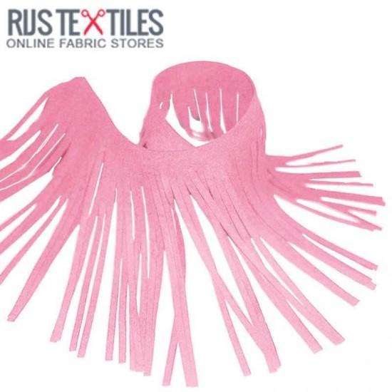Fringe Trim Suede Pink 12cm