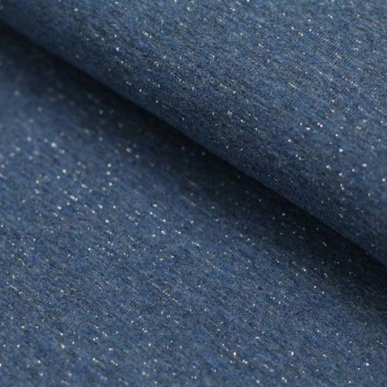 d043e2bf4cd French Terry Fabric - Jeans Melange With Lurex Glitter Silver
