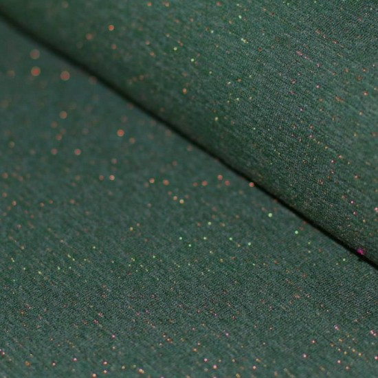 a7508577174 French Terry Fabric - Dark Green Melange With Lurex Glitter Gold