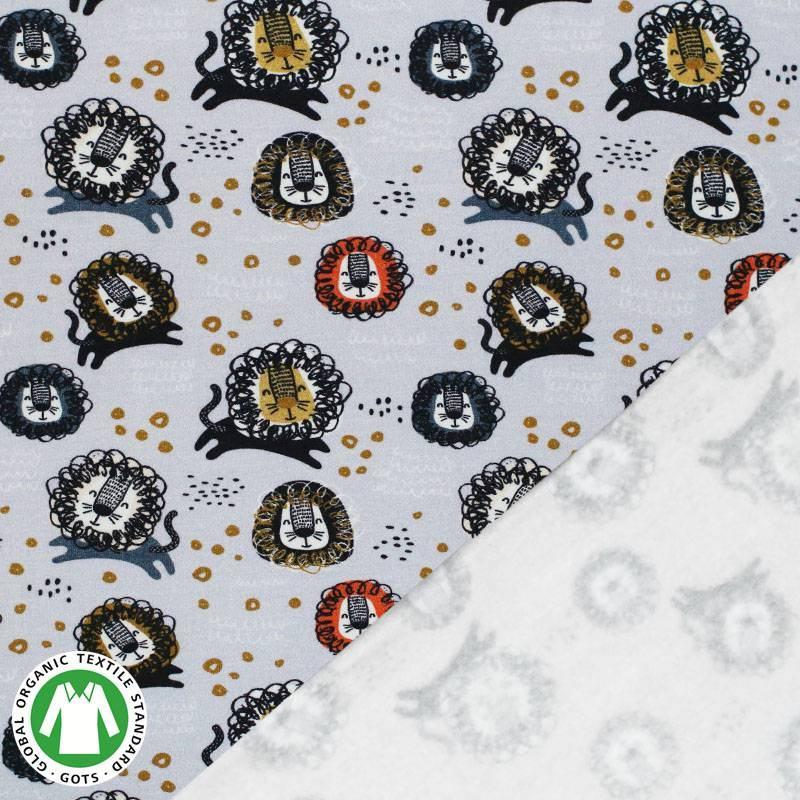 3a2e0d7e2c51 Organic Isoli sweat lysegrå med løve mønster som metervare
