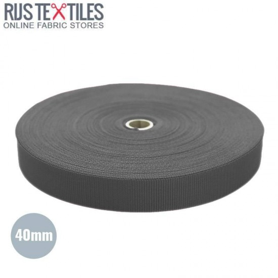 Polypropylene Webbing Dark Grey 40mm (Per Meter)