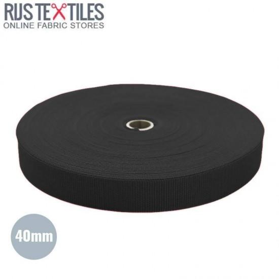 Polypropylene Webbing Black 40mm (Per Meter)
