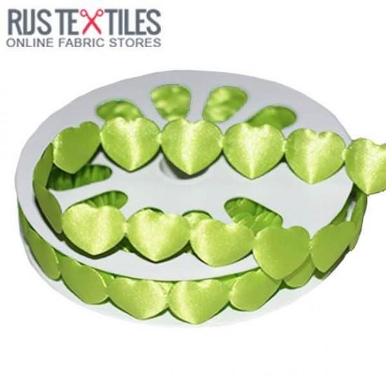 Hearts Ribbon Satin Lime 16mm