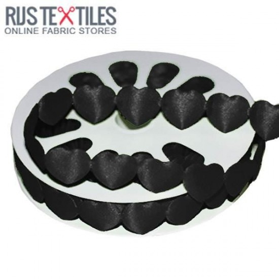 Hearts Ribbon Satin Black 16mm