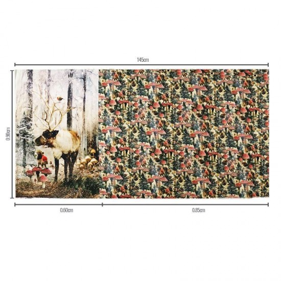 Jersey Cotton Fabric Digital Print - Reindeer Panel