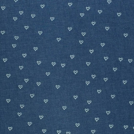 Jeans Fabric Stretch - Hearts Dark Blue