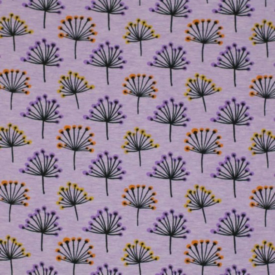 Jersey Fabric - Colored Blowball Lilac Melange