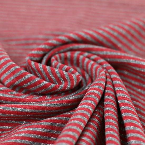 Jersey Lurex Stripes 3mm Red Grey