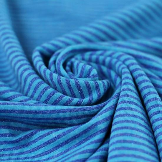 Jersey Lurex Stripes 3mm Aqua Cobalt