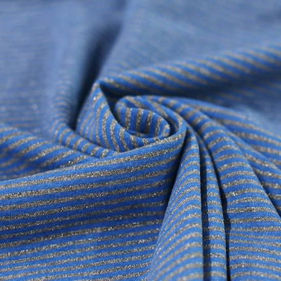 Jersey Lurex Stripes 3mm Cobalt Grey