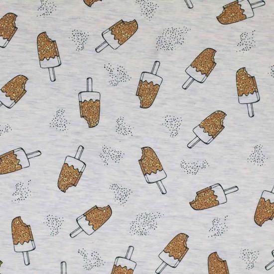 Jersey Fabric Cotton - Glitter Icecream Ecru Beige Melee