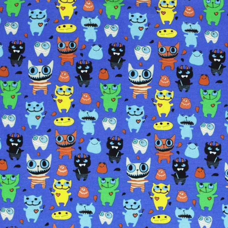 Mi joe fabrics cotton jersey monsters cobalt for Monster jersey fabric