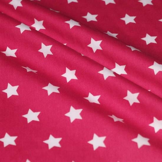 Tessuto Di Cotone Con Stelle Fucsia 20 mm